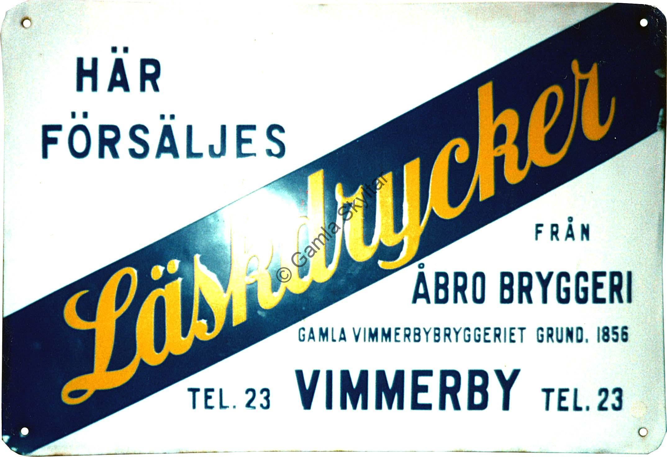 Åbro Bryggeri Läskedrycker - Gamla Skyltar 08c0775175f62